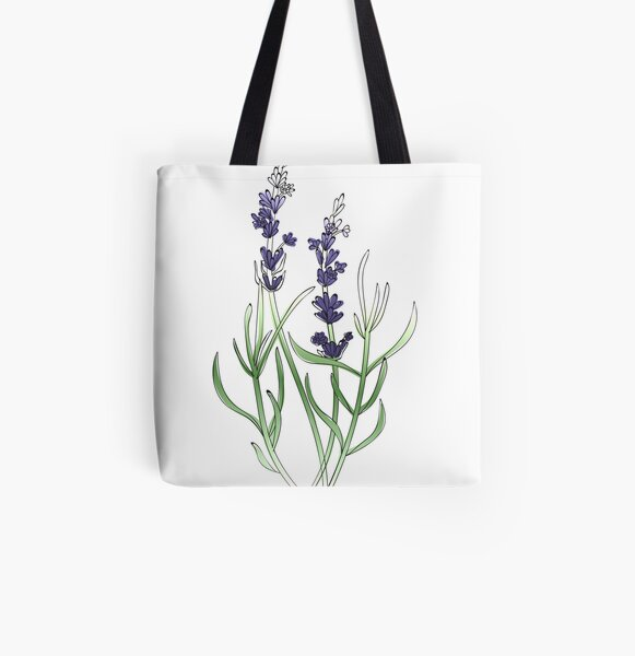 Lavendar Plant All Over Print Tote Bag