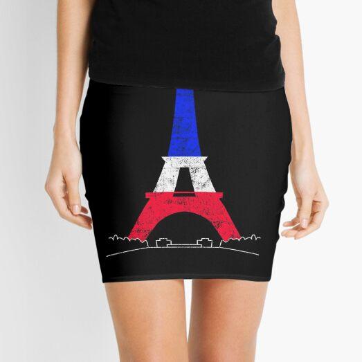 Eiffel Tower Paris France National Flag Souvenir Mini Skirt