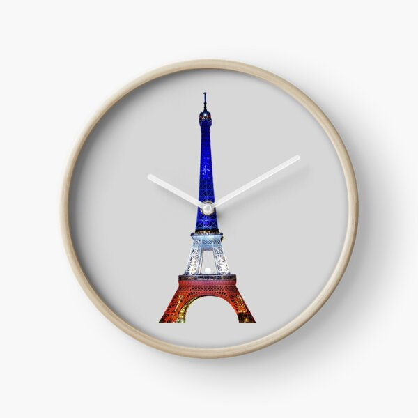 Eiffel Tower Paris France National Flag Souvenir Clock