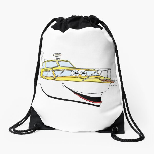 Yellow Motor Boat II Carton Drawstring Bag