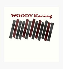 Woody Racing Bike + Car Art Print
