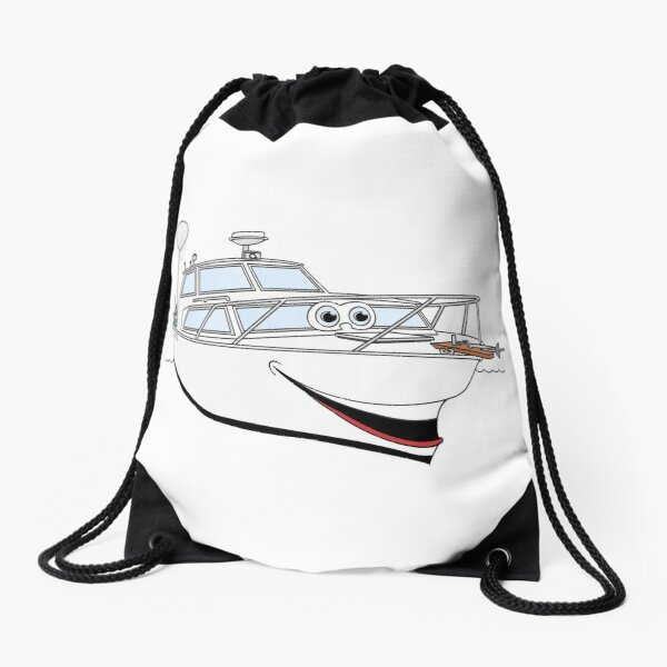 White Motor Boat Cartoon Drawstring Bag