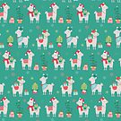 Christmas llamas III by peggieprints