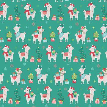 Christmas llamas III by peggieprints