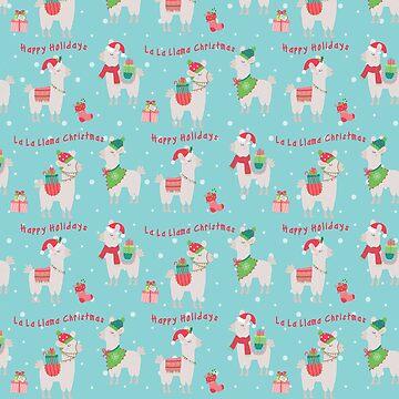 Christmas llamas IV by peggieprints