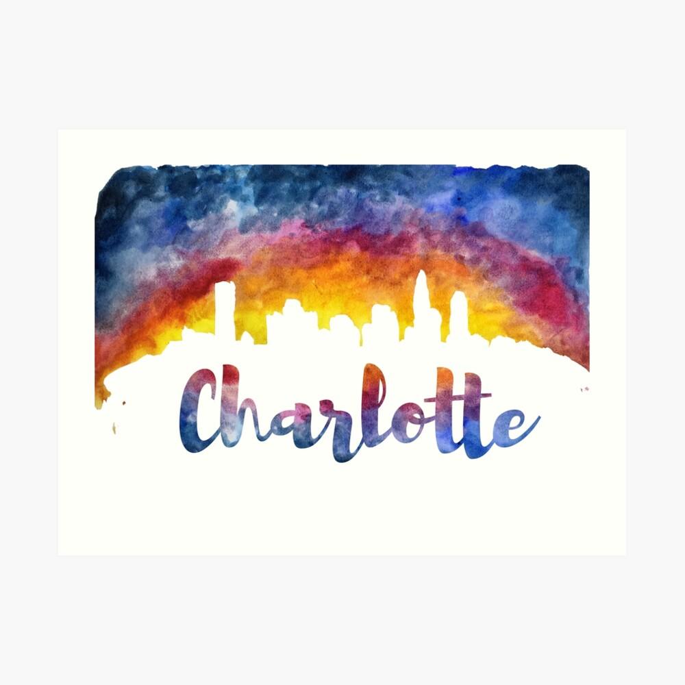 Charlotte Cityscape - Reverse Silhouette  Art Print