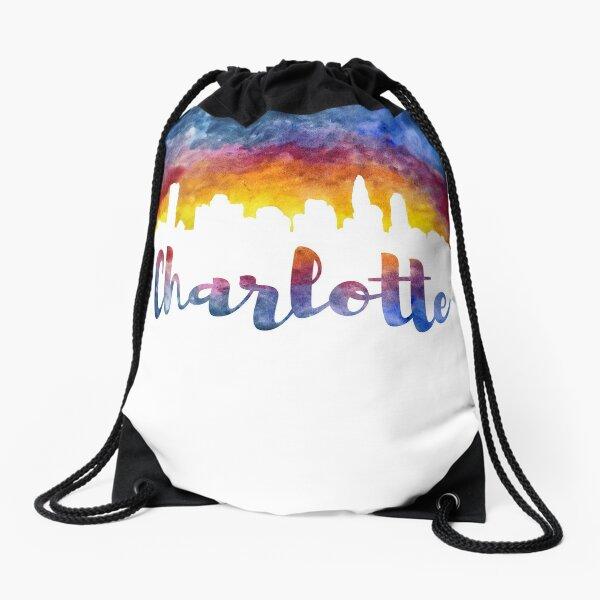 Charlotte Cityscape - Reverse Silhouette  Drawstring Bag