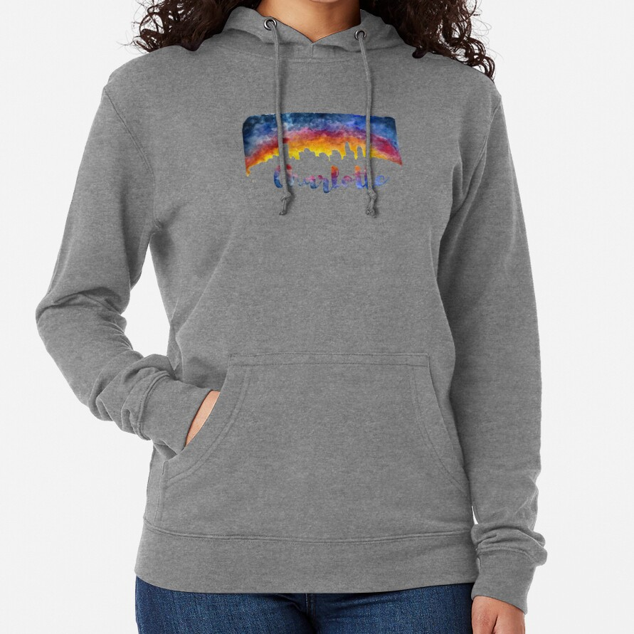 Charlotte Cityscape - Reverse Silhouette  Lightweight Hoodie
