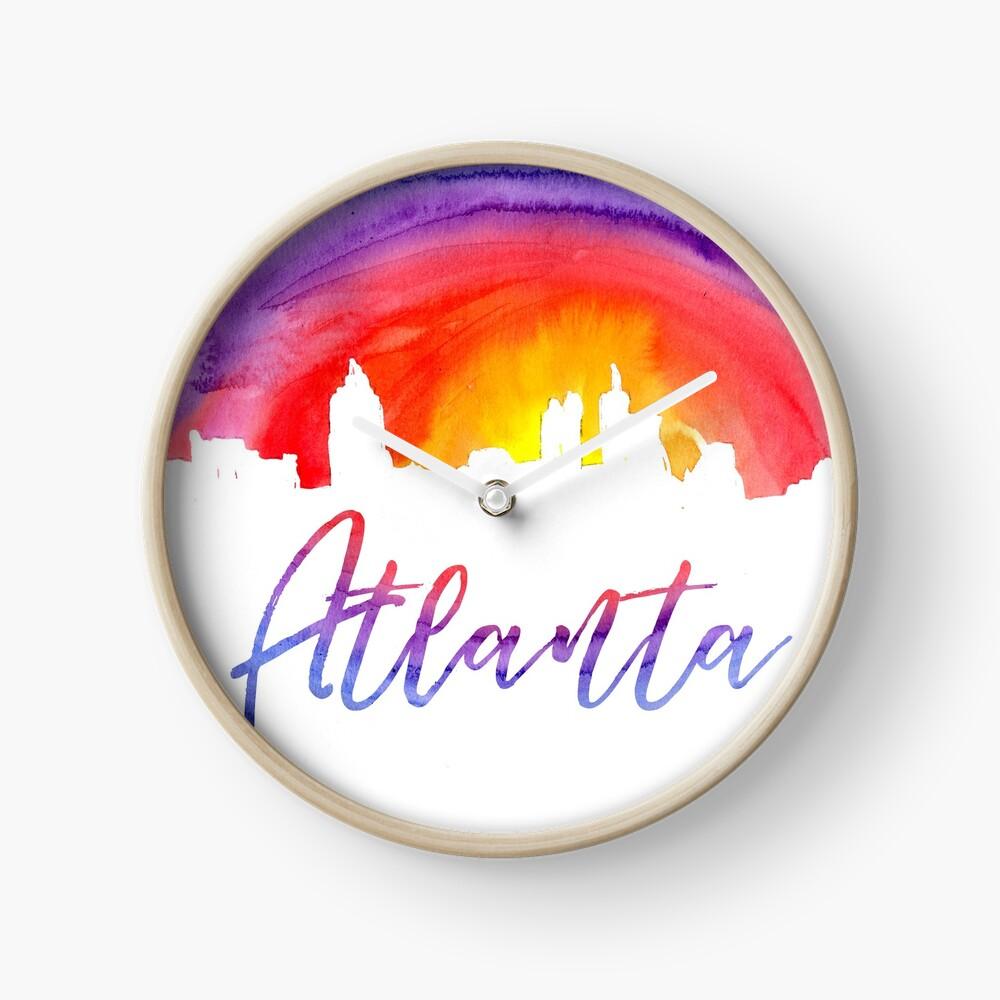 Atlanta Cityscape - Reverse Silhouette Clock