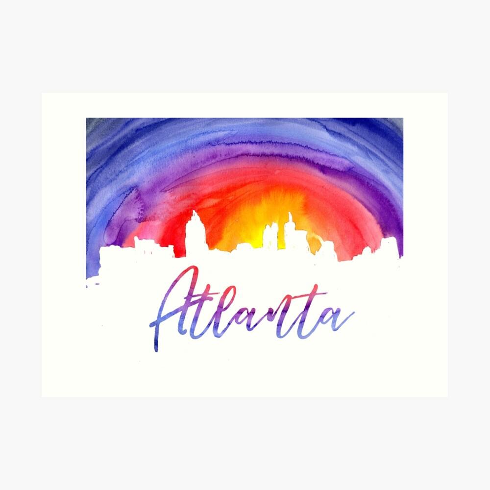 Atlanta Cityscape - Reverse Silhouette Art Print