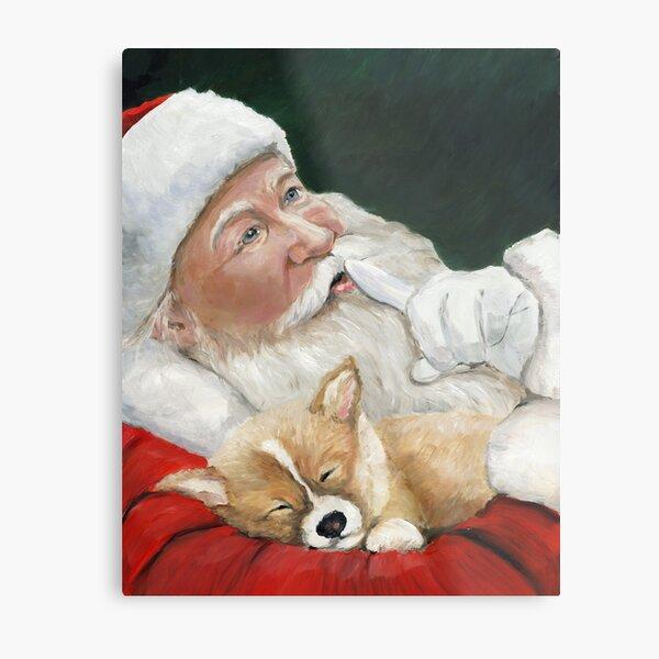 Pembroke Welsh Corgi and Santa Claus Metal Print