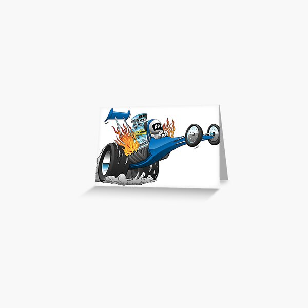 Top Fuel Dragster Cartoon Greeting Card