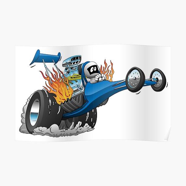 Top Fuel Dragster Cartoon Poster