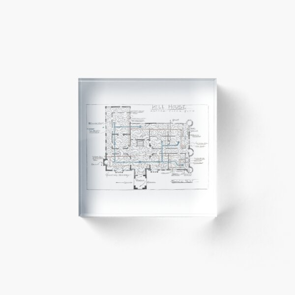 Hill House blueprint with Forever House repeated dozens of times Acrylic Block