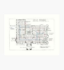 Hill House Blaupause mit Forever House wiederholte sich Dutzende Male Kunstdruck
