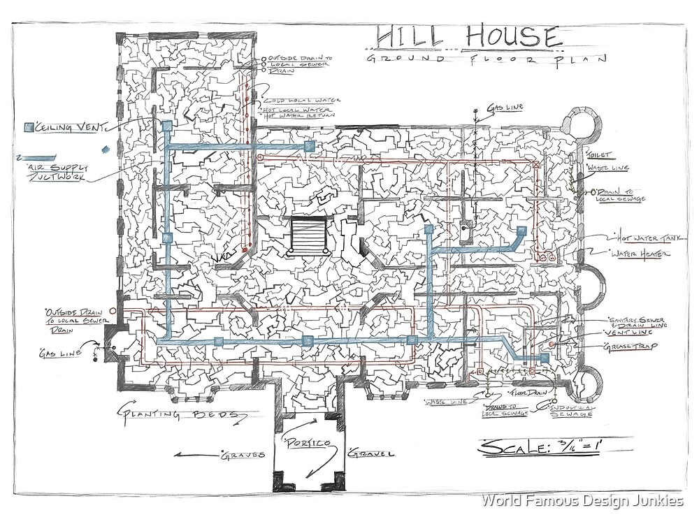 Hill House blueprint with Forever House repeated dozens of times by World Famous Design Junkies