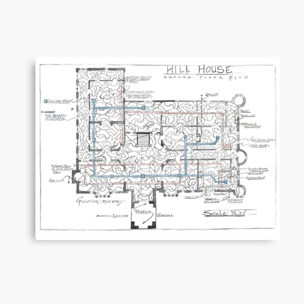 Hill House blueprint with Forever House repeated dozens of times Canvas Print