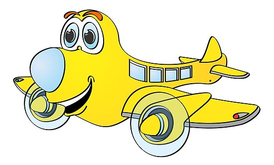 Yellow Blue Nose Airplane Cartoon Poster By Graphxpro Redbubble