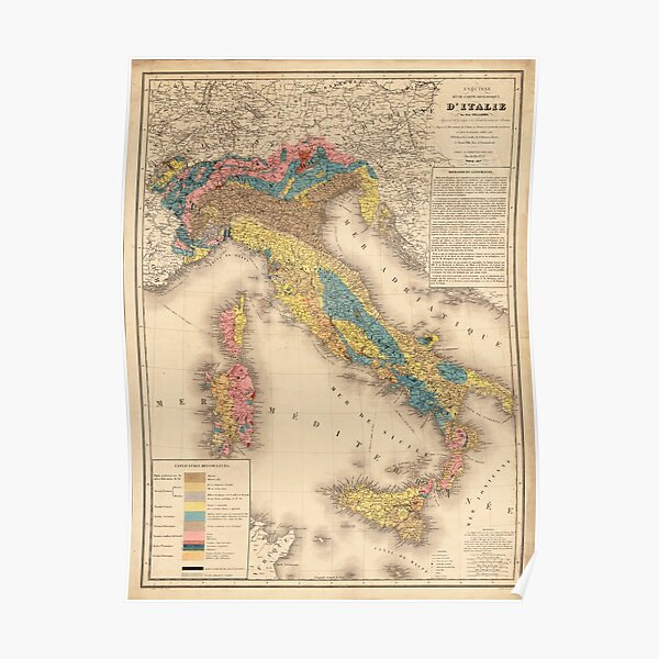 Vintage Italy Geology Map (1844) Poster