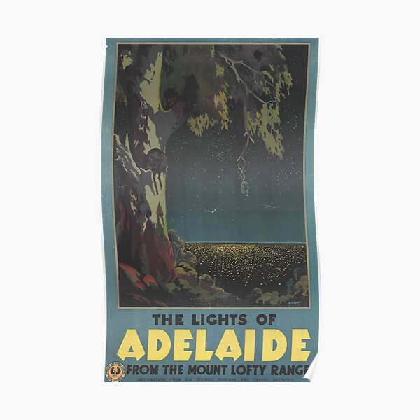 The lights of Adelaide from the Mount Lofty Ranges, circa 1935 Poster