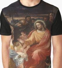 Camiseta gráfica Vintage Benjamin Robert Haydon - Cristo bendiciendo a los niños pequeños 1837 Bellas Artes