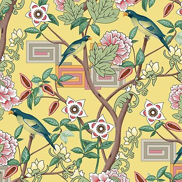 Parrots and Peonies Chinoiserie on Butter Yellow by vinpauld
