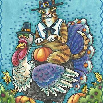 HISS N FITZ CAT  HOME FOR THANKSGIVING by SusanBrackArt