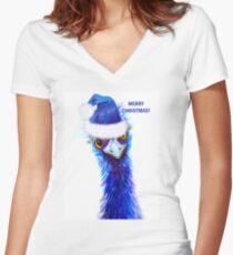 Christmas Emu Fitted V-Neck T-Shirt