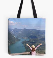 happy little girl with hands up on mountain viewpoint Tote Bag