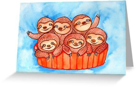 Watercolor Art | Bucketful of Sloths by coloringiship