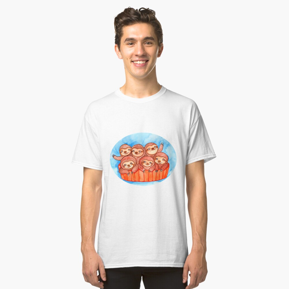 Watercolor Art | Bucketful of Sloths Classic T-Shirt Front