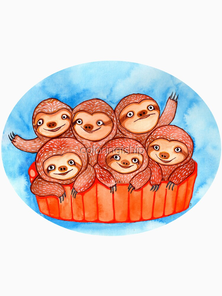 Watercolor Art | Bucketful of Sloths by coloringiship