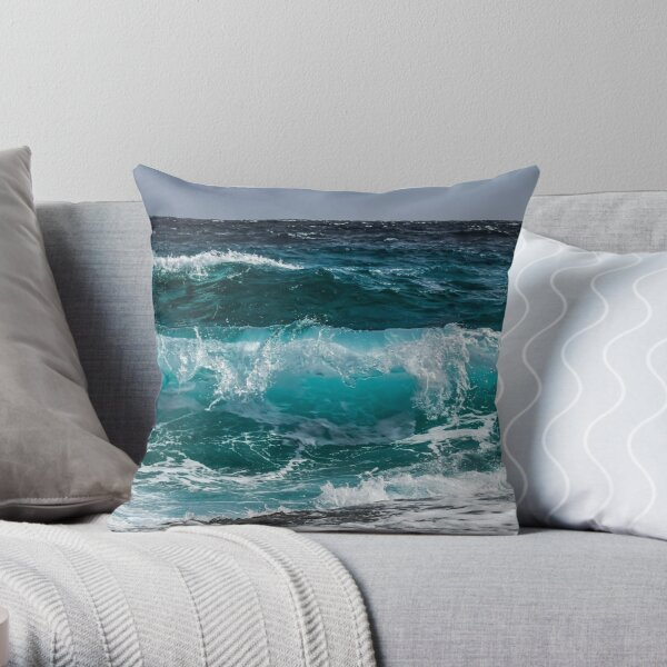 Ocean waves prints Throw Pillow