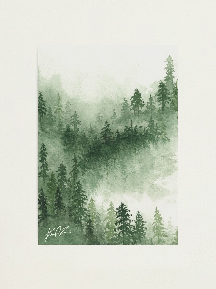 misty mountain pine forest watercolor painting print photographic print by redfinchdesigns redbubble redbubble