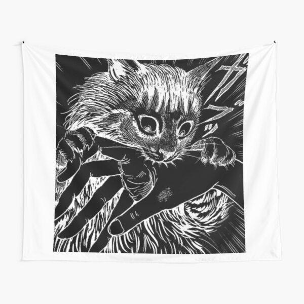 Cat Junji Ito Bite Tapestry