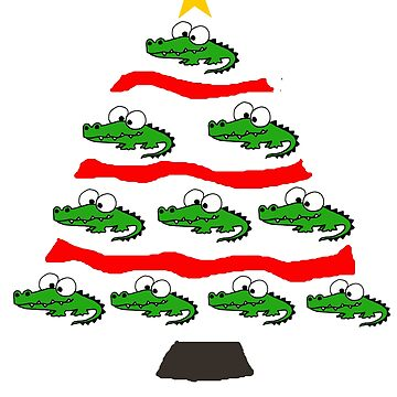 Cute Alligator Christmas Tree Art by naturesfancy