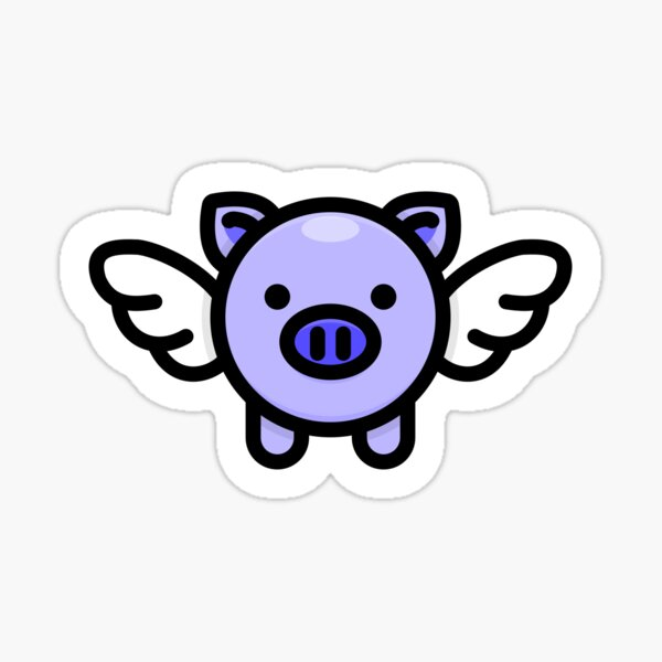 When Pigs Fly: Blue Sticker