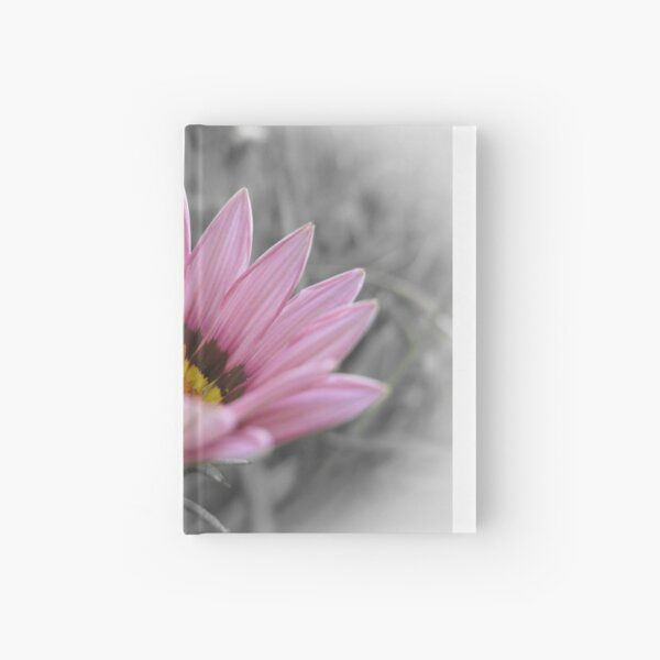 Pink flower on a black and white background Hardcover Journal