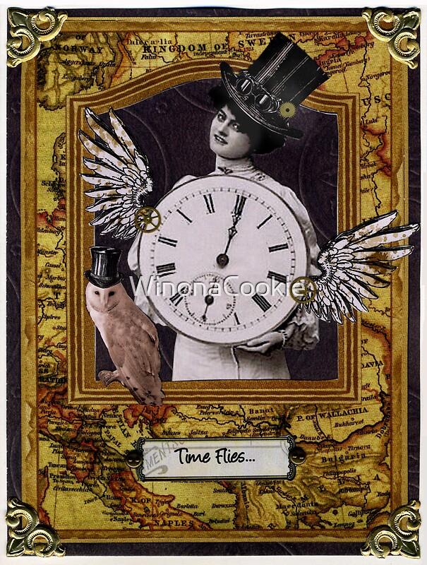 Time flies steampunk birthday card greeting cards by for Selbstgemachte geburtstagskarten