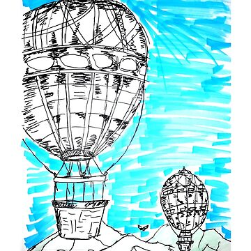 Flying Hot Air Balloons Draw by rott515