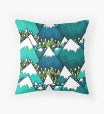 Winter peaks and woods Throw Pillow