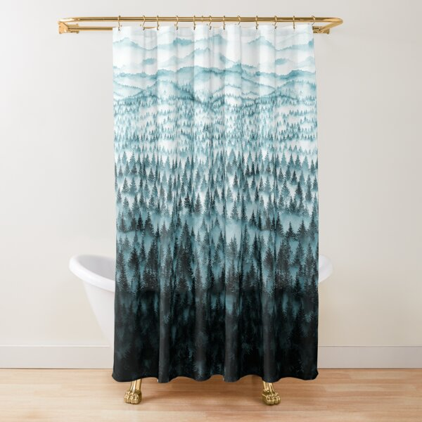 FOREST - a large format watercolor - forest and mountains Shower Curtain