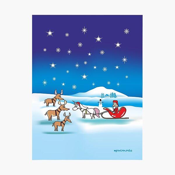 Weihnachts - Einhorn Fotodruck