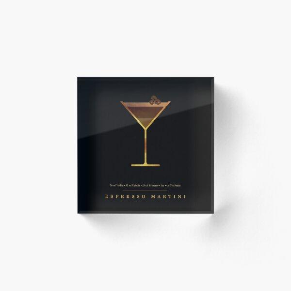 Espresso Martini Cocktail - Classic Cocktails Series - Black and Gold - Modern, Minimal Decor Acrylic Block