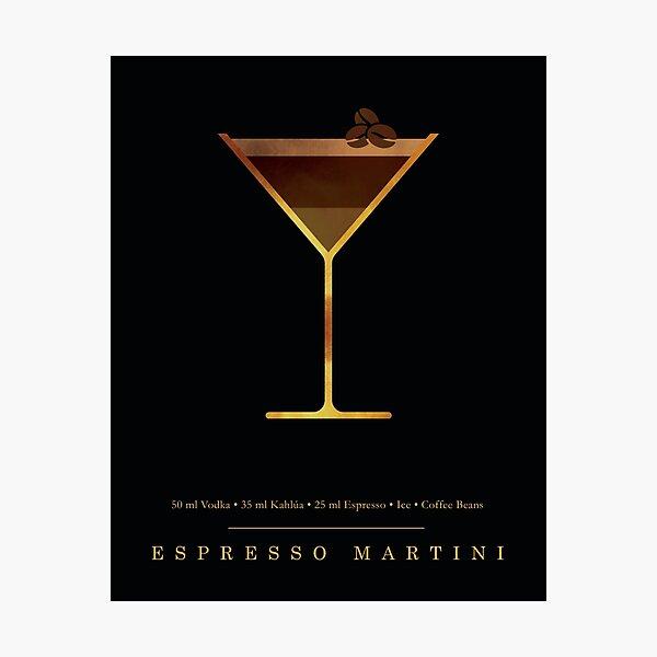Espresso Martini Cocktail - Classic Cocktails Series - Black and Gold - Modern, Minimal Decor Photographic Print