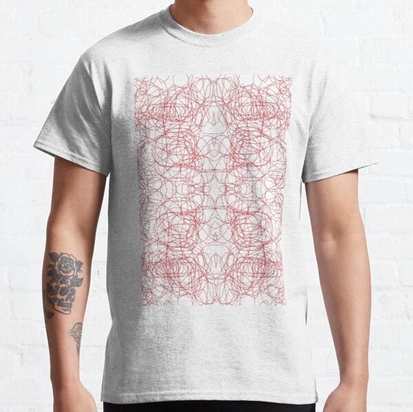 #Abstract #pattern #design #illustration #art #decoration #shape #vector #element #vertical #red #colorimage #copyspace #textured #backgrounds #geometricshape #inarow #textile #retrostyle #nopeople Classic T-Shirt