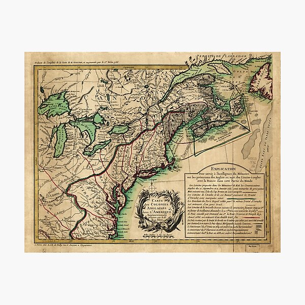 Map of the East Coast of America (1756) Photographic Print