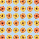 Colorful Gerbera Daisy Flower Pattern by Erika Lancaster