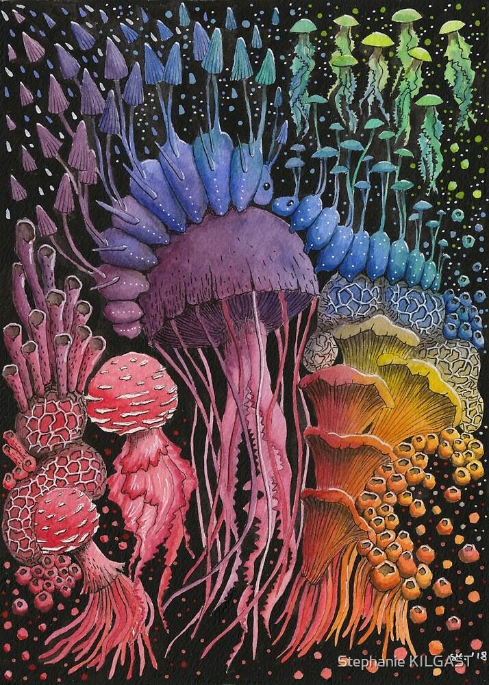 Rainbow Jellyfish Mushroom on Black Background by Stephanie KILGAST