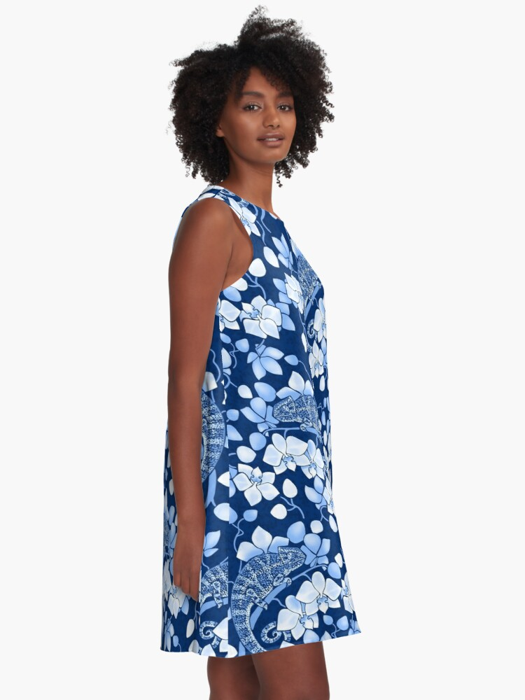 Alternate view of Chameleons and orchids in blue A-Line Dress